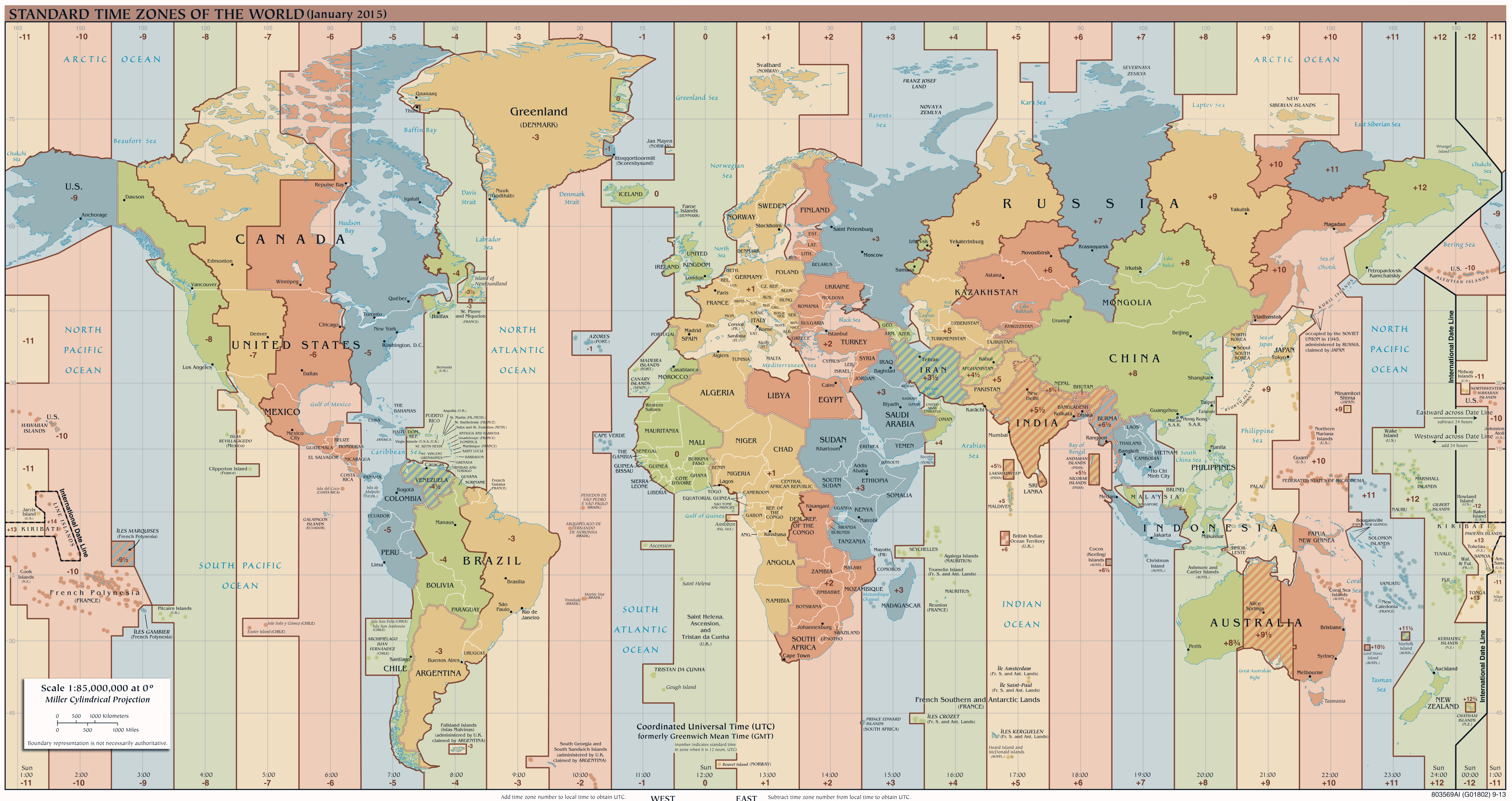 Large Detailed Time Zones Map Of The World Issue