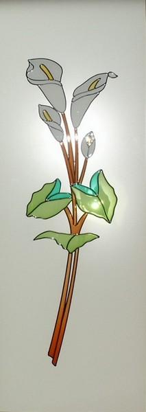 Vidriera decorada con resina especial