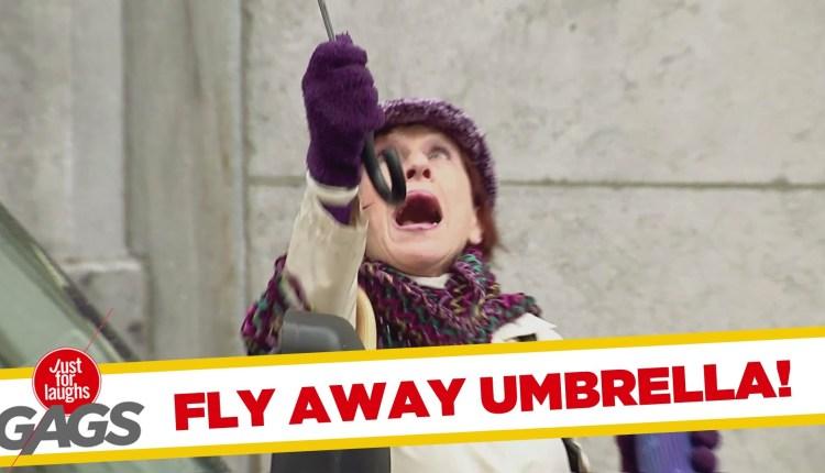 Fly Away Umbrella Funny Video