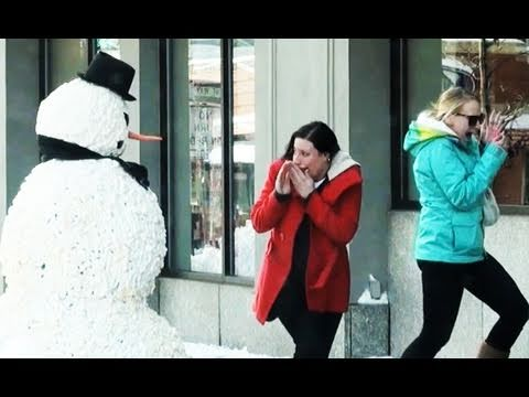 Funny Street Prank With A Fake Moving Snowman