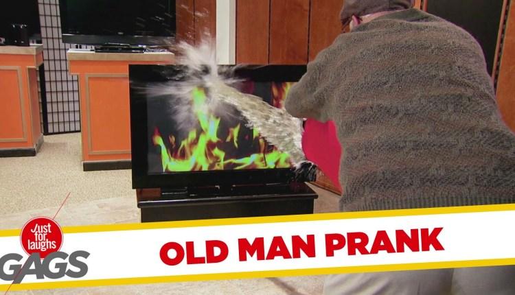 Old Man Puts TV On Fire Prank