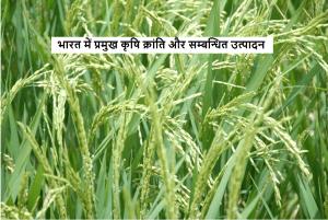 भारत में प्रमुख कृषि क्रांति और सम्बन्धित उत्पादन
