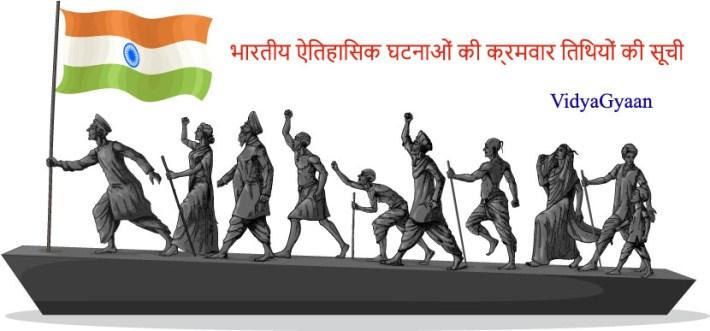 भारतीय ऐतिहासिक घटनाओं की क्रमवार तिथिय