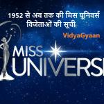 मिस यूनिवर्स विजेताओं की सूची