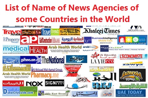 List of Name of News Agencies of some Countries in the World