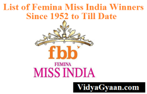 List of Femina Miss India Winners