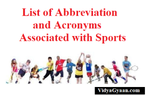 List of Abbreviation and Acronyms Associated with Sports