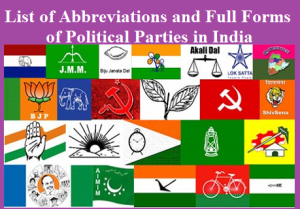 List of Abbreviations and Full Forms of Political Parties in India