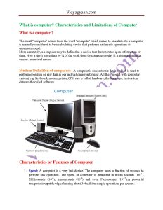What is computer  Characteristics and Limitations of Computer PDF