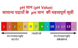 pH मान (pH Value)  सामान्य पदार्थो के pH मान की महत्वपूर्ण सूची