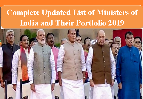List of Ministers of India and their Portfolio 2019 with PDF