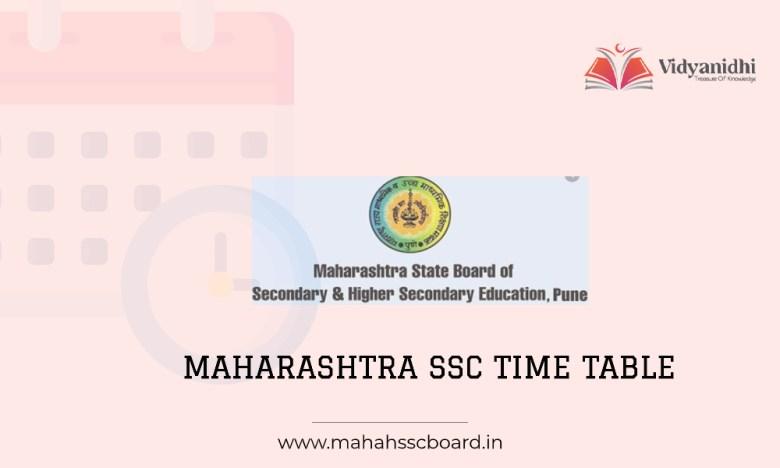 Maharashtra SSC Time Table - exam date sheet (www.mahahsscboard.in)