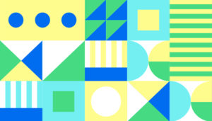 Geometric graphic in green, blue, yellow, and white