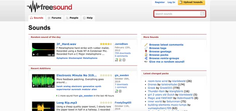 A screenshot of Freesound homepage which offers background music for videos.