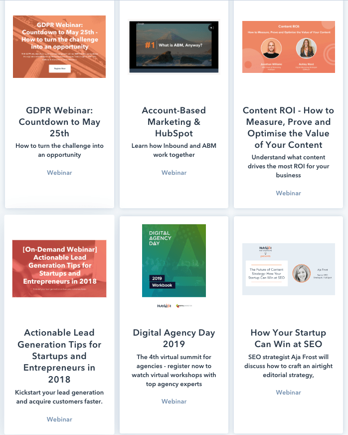 a screenshot of HubSpot's webinars hub