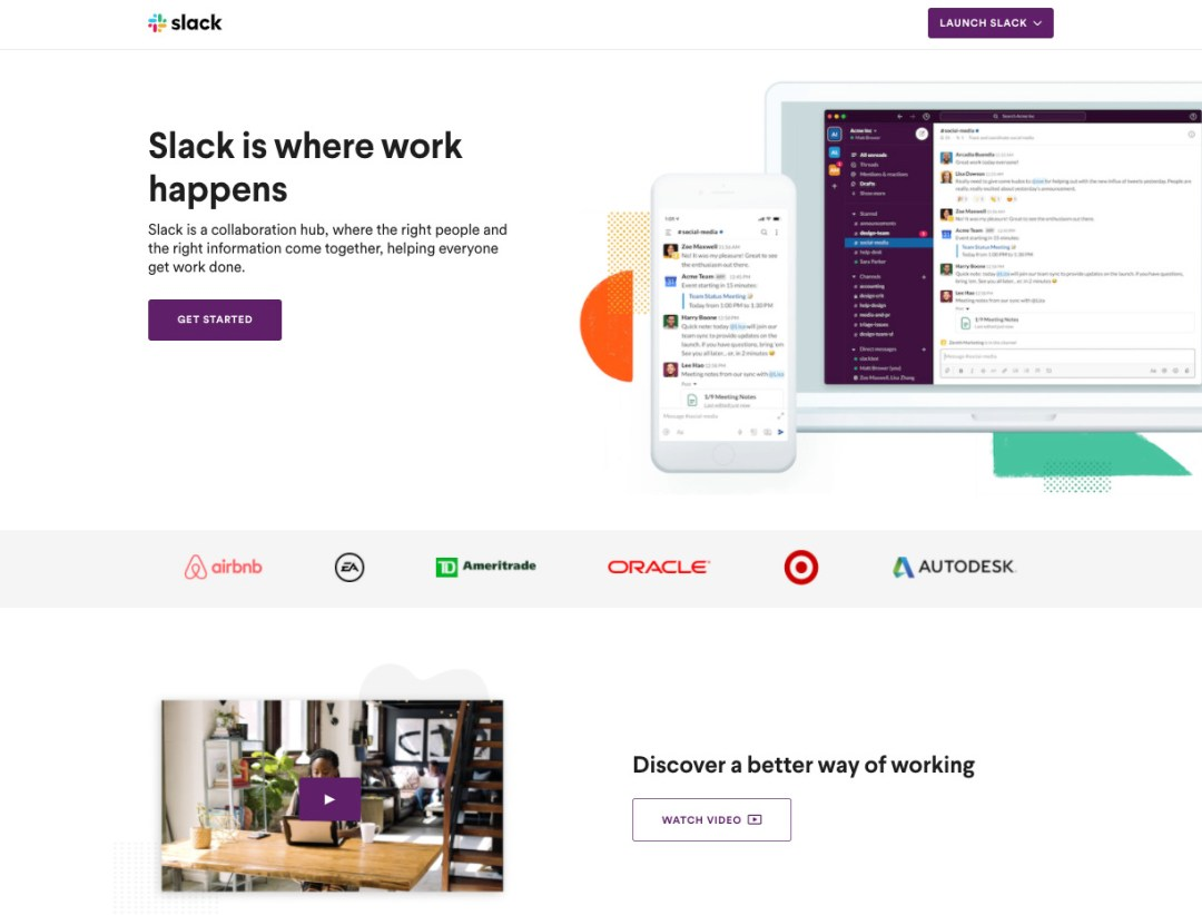 a video landing page example from Slack