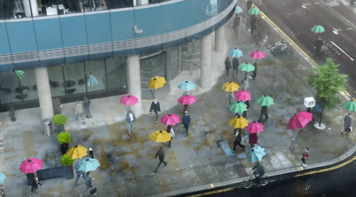 Slack flying umbrellas video