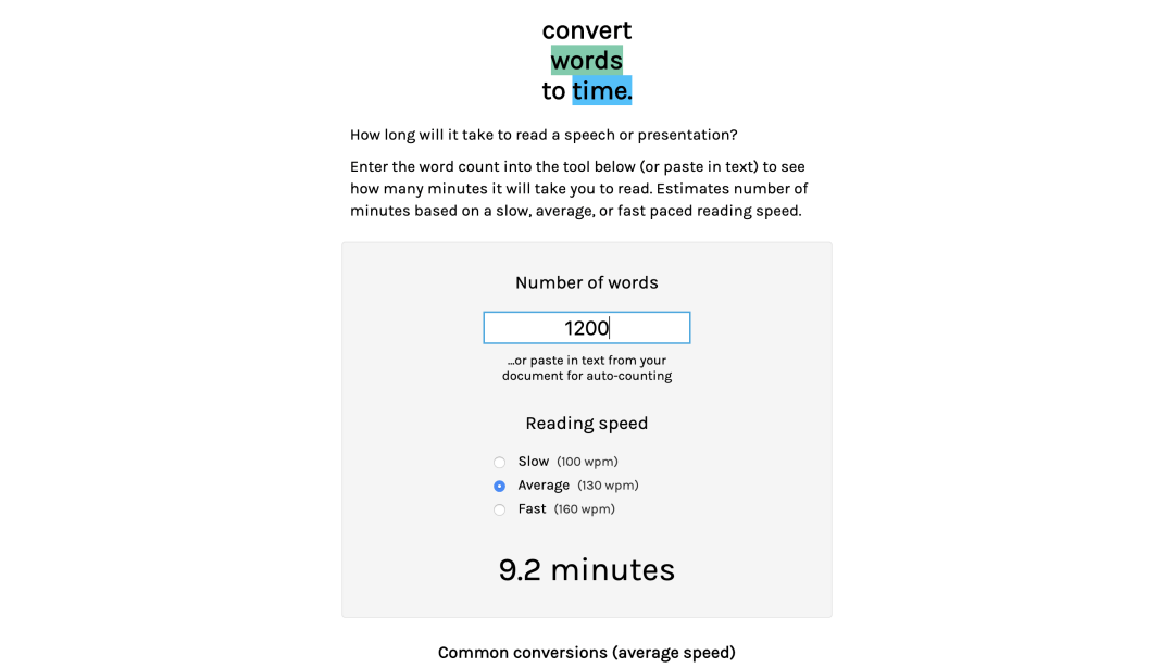 Screenshot of Words to Time, a tool to calculate read time for text