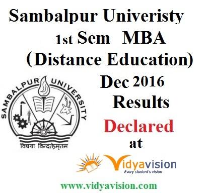 Sambalpur University MBA 1st Sem Results Declared