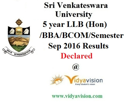 SVU 5 year LLB BBA Results 2016