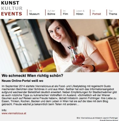 Viennalicious in der Presse_ Artikel auf Kunst-kultur-events.at am 9.7.2015