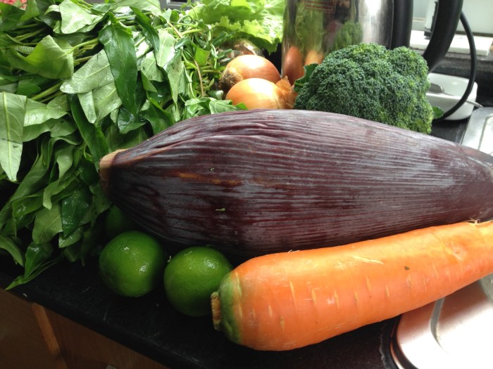 banana flower and carrot