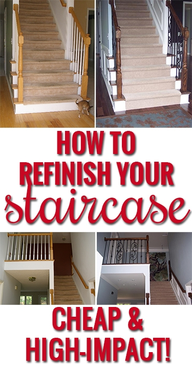 How To Refinish And Update Wood Stair Railings   Refinishing Builder Grade Stairs   Diy   Basement Stairs   Staircase Makeover   Flooring   Carpeted Stairs