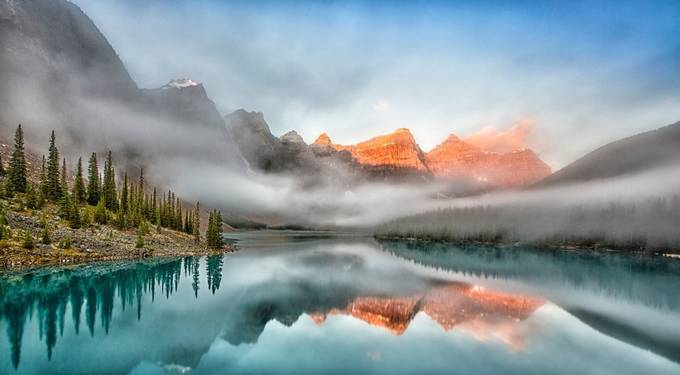 morraine lake sunrise by ronsantini - Canada Photo Contest
