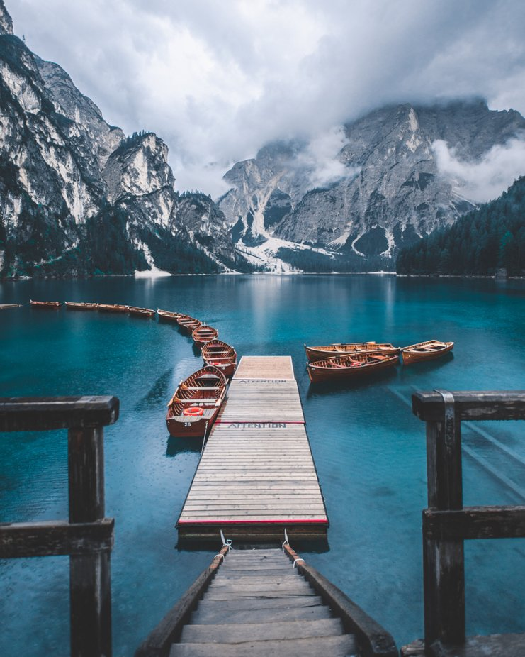 Lago Di Braies under a moody weather.  by i_caring - The Blue Color Photo Contest 2018