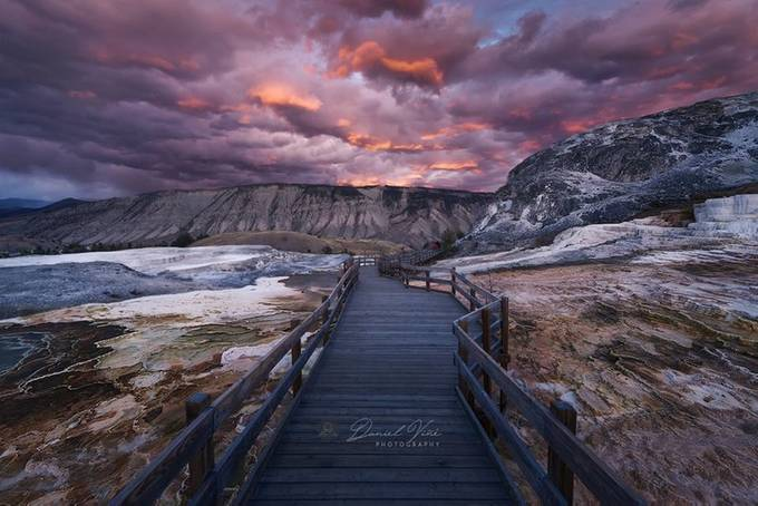Mammoth Hot Springs at Sunset, Yellowstone National Park by Danielvg - Image Of The Month Photo Contest Vol 37