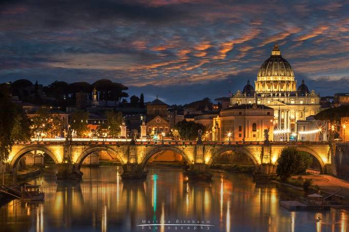 St Peters Basilica and Angels Bridge at night by MBphotographybiz - Image Of The Month Photo Contest Vol 37