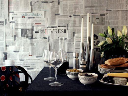 Ταπετσαρία τοίχου με εφημερίδες