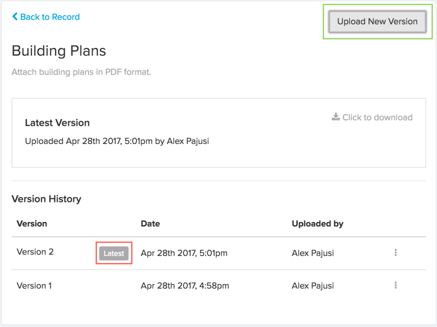 Updating Permitting Attachment Versions in ViewPoint Cloud