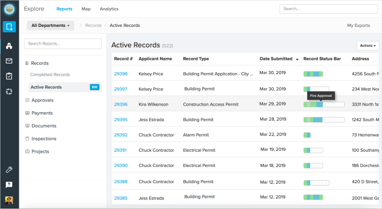Record Status Bar Reporting | ViewPoint Cloud ePermitting