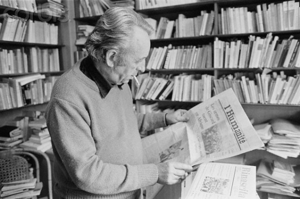 19 May 1978, Paris, France --- Portrait of Communist political philosopher Louis Althusser reading the Communist daily newspaper L'Humanite in his home. He murdered his wife in 1980 and was confined in an asylum until his death. --- Image by © Jacques Pavlovsky/Sygma/CORBIS