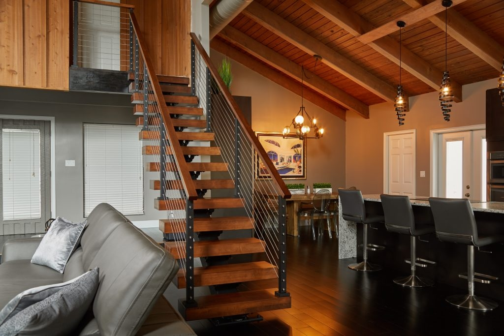 Types Of Stairs Modern Straight L Shaped U Shaped More | Mid Century Modern Stair Handrail | Vertical | Decorative | Fixer Up | Living Room | Contemporary Curved Staircase