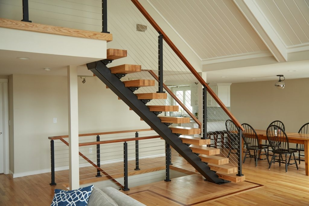 Straight Staircases Single Stringer Metal Staircases Viewrail | Staircase Railing Designs For Your Home | Contemporary | Extraordinary | Country Home Interior | Eye Catching | Covered