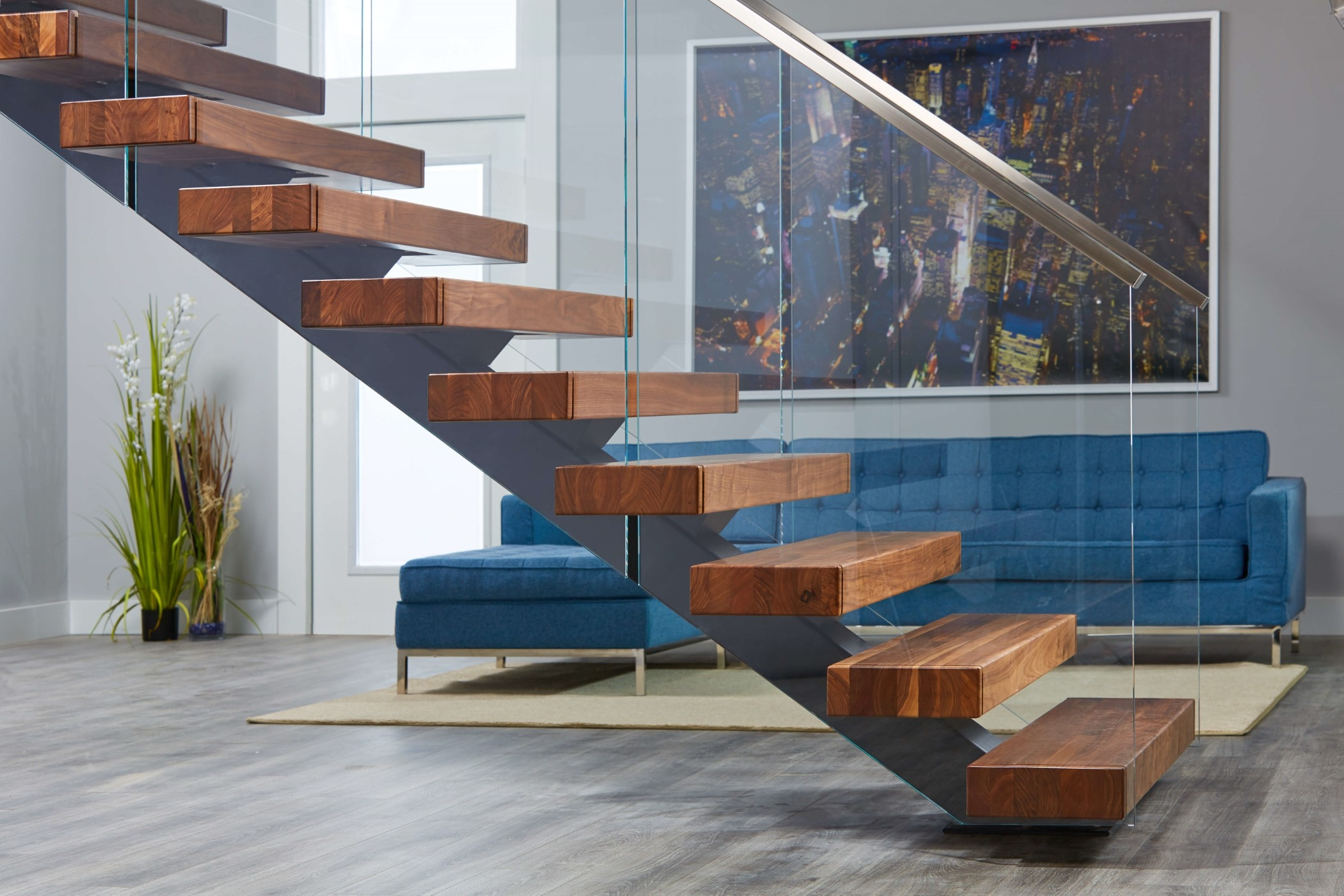 Viewrail Floating Stairs And Modern Railing For Stairs | Curved Glass Staircase Railing | Half Circle | Aluminium | Tuffen | Interior Modern Glass | Stone Glass