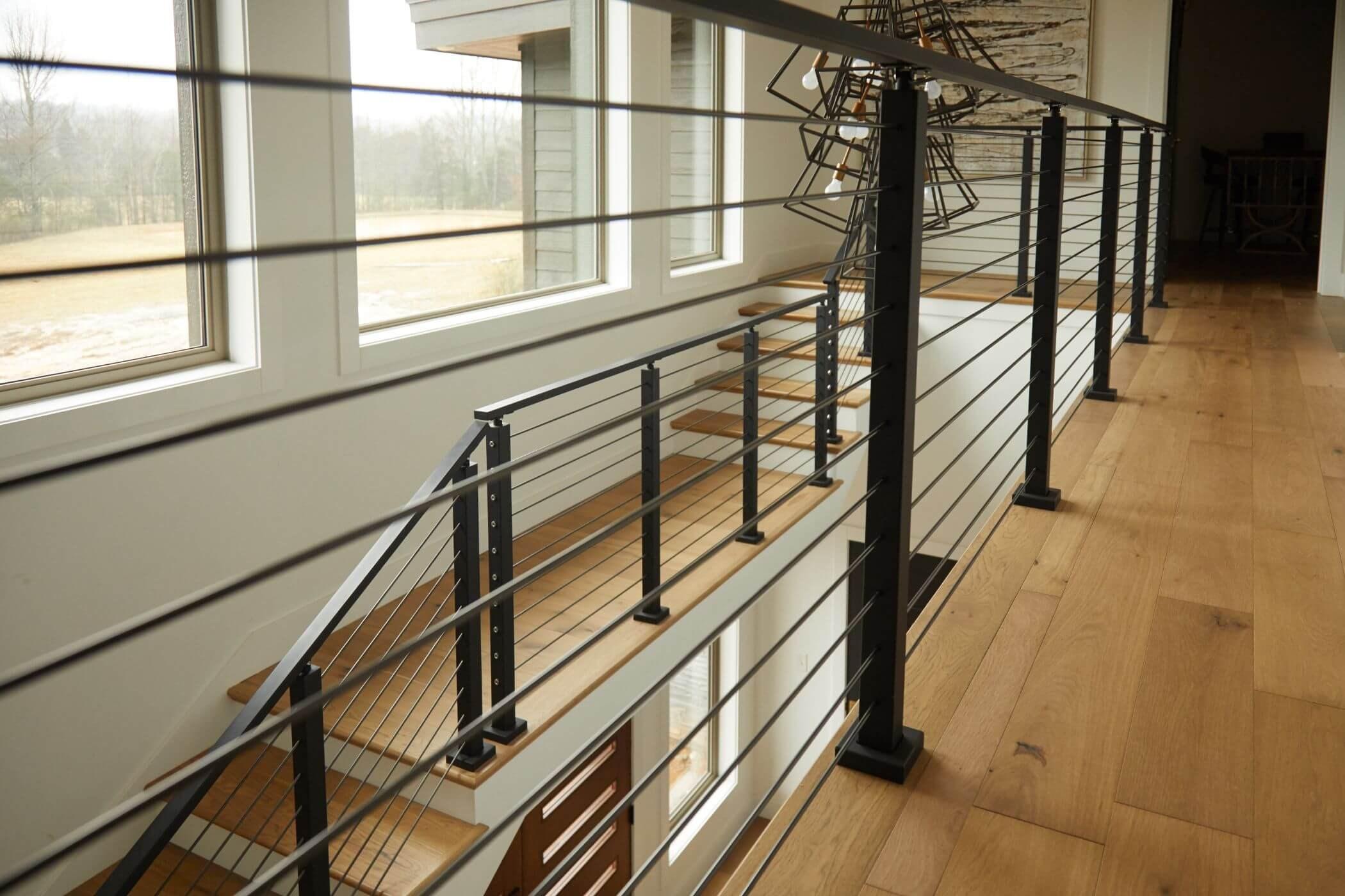 Onyx Rod Railing System Black Stainless Steel Railing Viewrail   Modern Black Metal Stair Railing   Minimalist   Metal Spindle   Simple Two Story House   Dark Wood   Rustic
