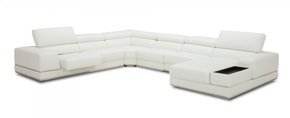 modern large white leather sectional