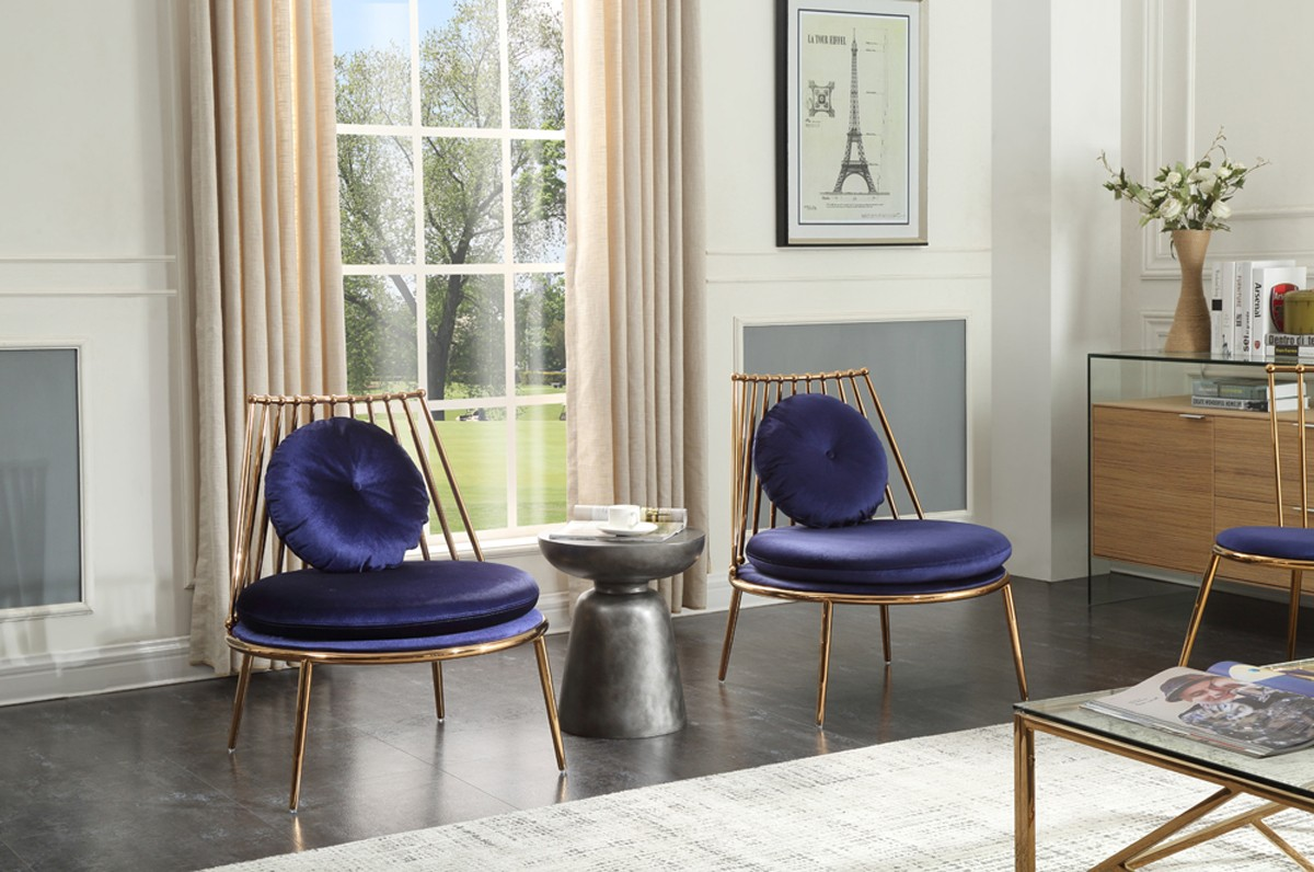 Modrest Dyna Modern Blue Amp Gold Accent Chair