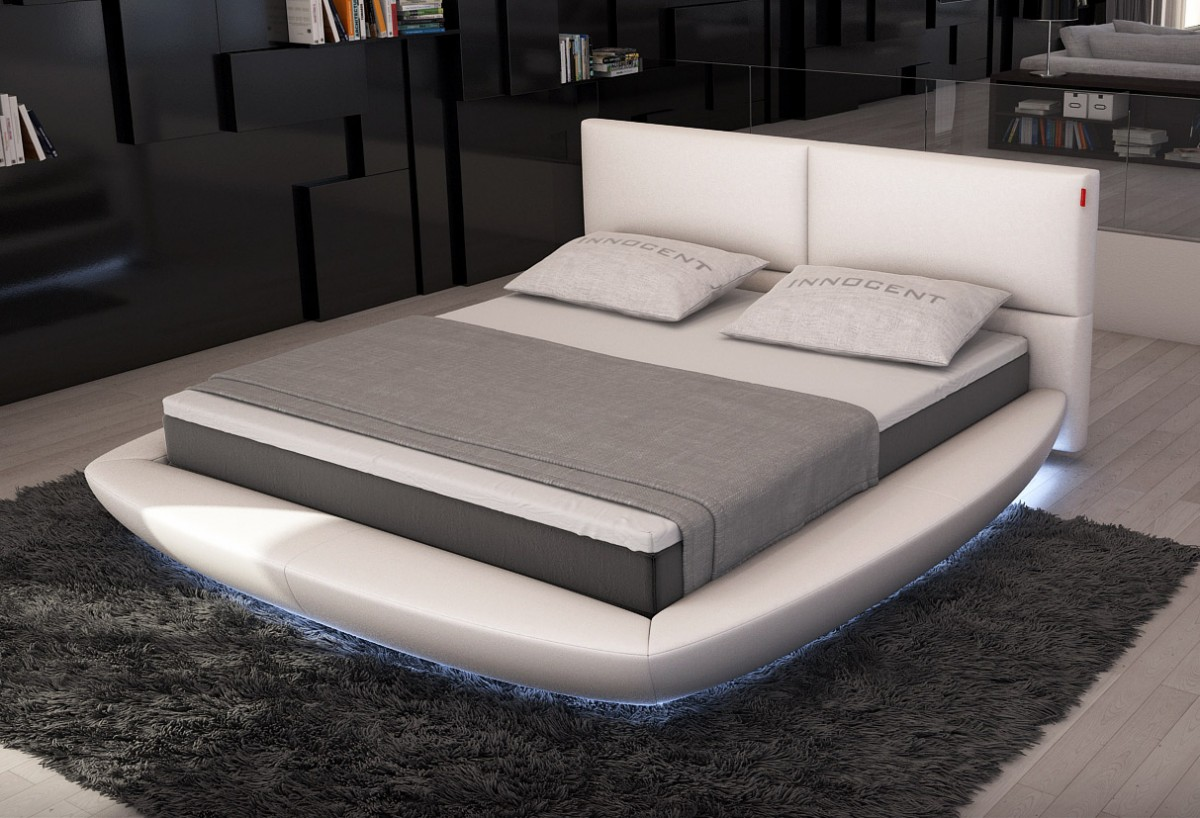 Modrest Sferico Modern Eco Leather Bed With Led Lights