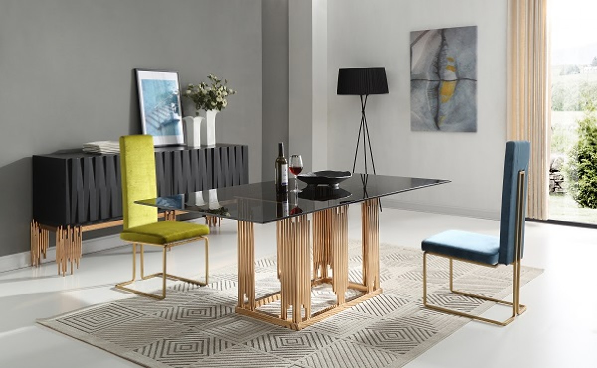 Modrest Token Modern Smoked Grey Glass Rosegold Dining Table