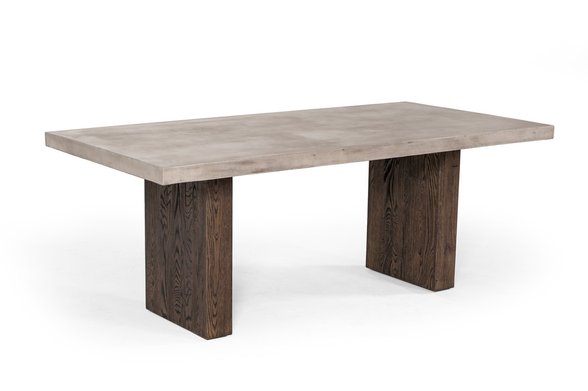 Modrest Rime Modern Concrete Amp Oak Dining Table Modern