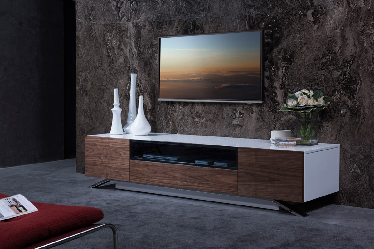 Modrest Gillian Contemporary White Amp Walnut Tv Stand Tv