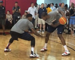 Durant and George go one-on-one after Team USA practice in 2013. (Photo via @NBA.)