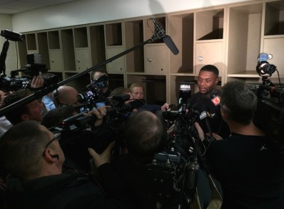 Stephenson talks with local reporters Wednesday morning.
