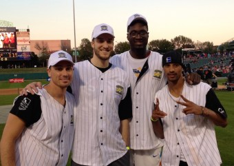 Hibbert at his annual softball challenge with three of his teammates back in 2013.