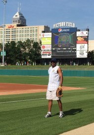 McMillan took part in a celebrity softball game last June.