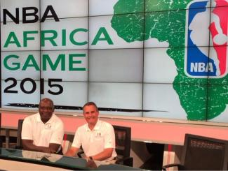Denari and Buckner team up to broadcast the first NBA game in Africa for the World feed. [Photo: @ChrisDenari]